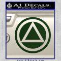 AA Alcoholics Anonymous CT D3 Decal Sticker Dark Green Vinyl 120x120