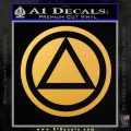 AA Alcoholics Anonymous CT D3 Decal Sticker Gold Vinyl 120x120