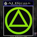 Alcoholics Anonymous AA Decal Sticker C T Lime Green Vinyl 120x120