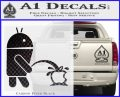 Android Pissing On Apple Decal Sticker Carbon FIber Black Vinyl 120x97