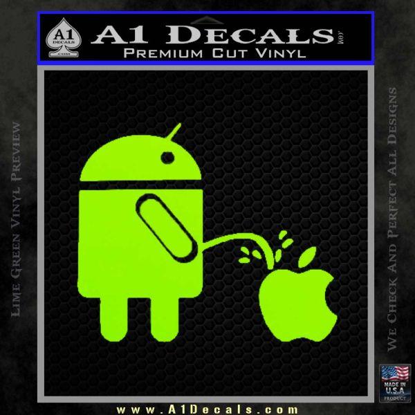 droid pee on apple decal