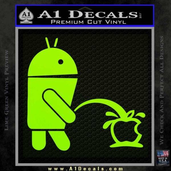 Android Pissing On Apple Decal Sticker Lime Green Vinyl
