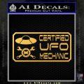 Certified UFO Mechanic Decal Sticker Gold Vinyl 120x120