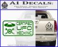 Certified UFO Mechanic Decal Sticker Green Vinyl Logo 120x97