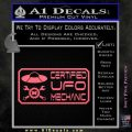 Certified UFO Mechanic Decal Sticker Pink Emblem 120x120