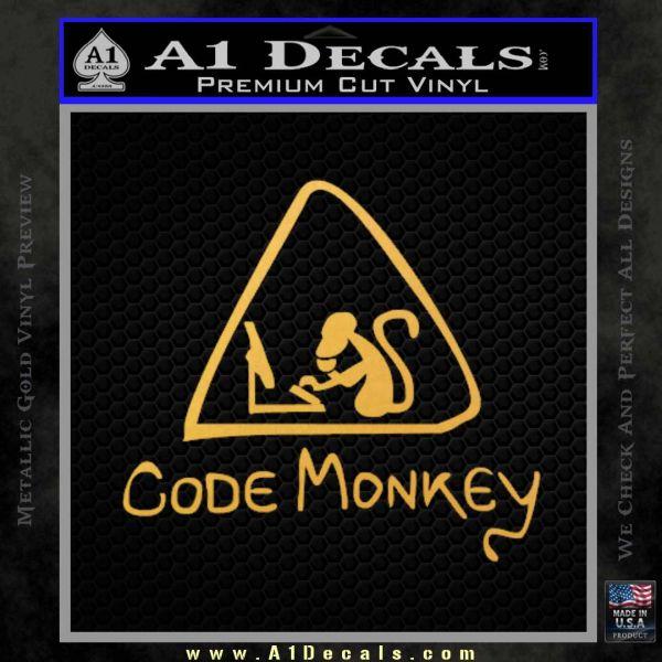 Code Monkey Css Java Html D1 Decal Sticker Gold Vinyl