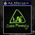 Code Monkey Css Java Html D1 Decal Sticker Lime Green Vinyl 120x120