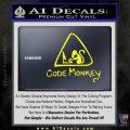 Code Monkey Css Java Html D1 Decal Sticker Yellow Laptop 120x120