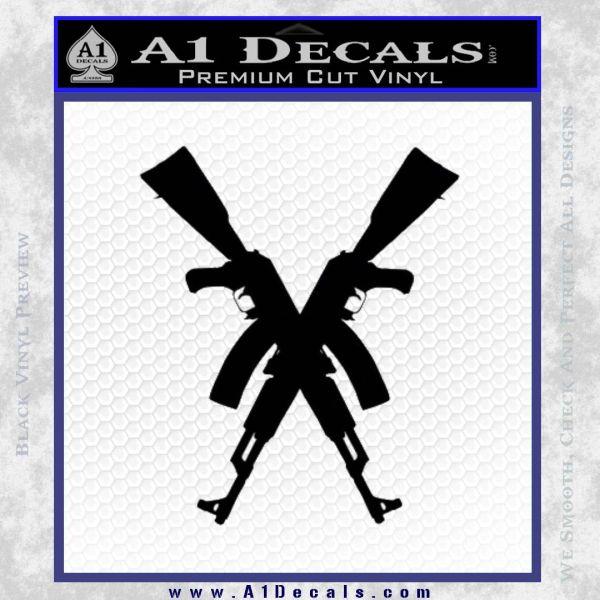 Crossed Ak 47s D1 Decal Sticker Black Vinyl