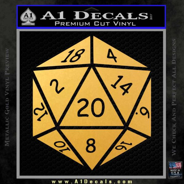 D20 Die Decal Sticker DD Dungeons and Dragons 15