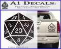 D20 Die Decal Sticker DD Dungeons and Dragons 18 120x97