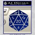 D20 Die Decal Sticker DD Dungeons and Dragons 20 120x120