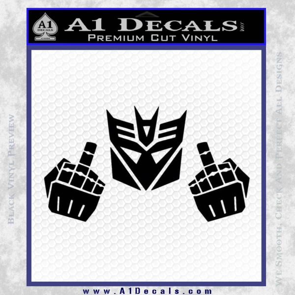 Decepticon The Fingers Decal Sticker Black Vinyl