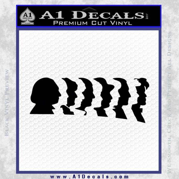 Doctor Who 11 Profiles Decal Sticker Black Vinyl