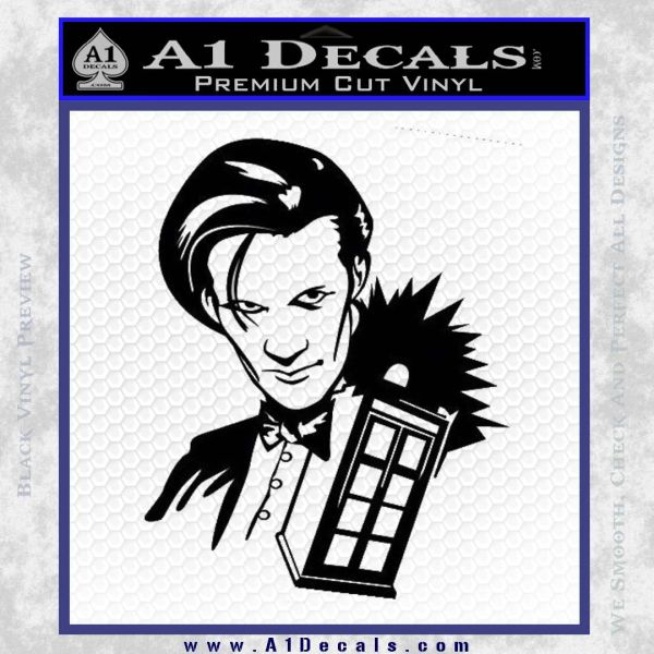 Doctor Who and TARDIS Splash Decal Sticker Black Vinyl