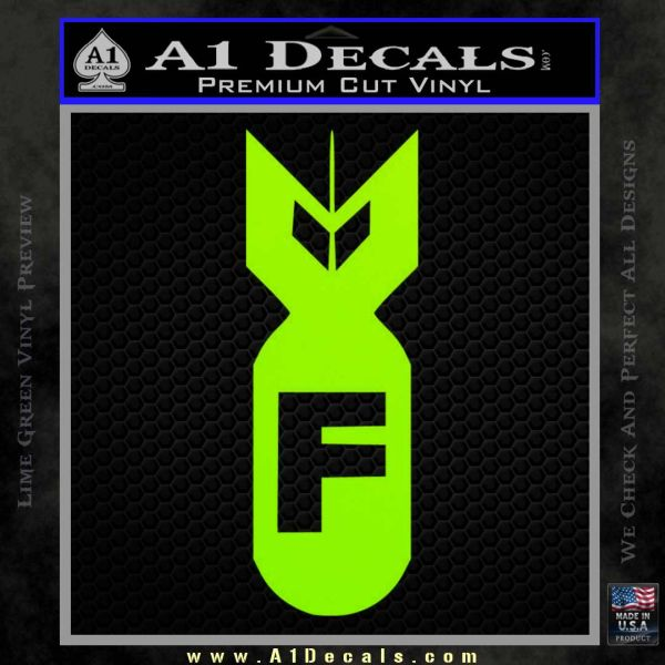 F Bomb Decal Sticker Lime Green Vinyl