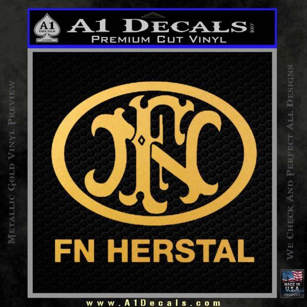 Fn Herstal Decal Sticker Gold Vinyl
