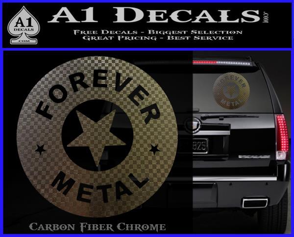 Forever Metal Rock Star Decal Sticker Carbon Fiber Chrome Logo