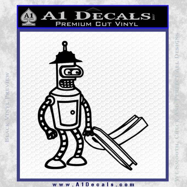 Futurama Bender Bending Girder Decal Sticker Black Vinyl