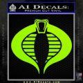 GI Joe Cobra Decal Sticker Lime Green Vinyl 120x120