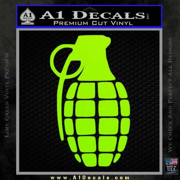 Grenade Decal Sticker Lime Green Vinyl