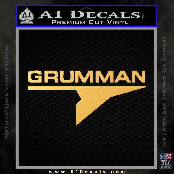 Grumman Decal Sticker Gold Vinyl