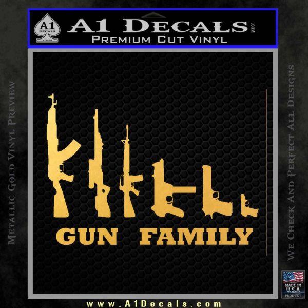 Gun Family Decal Sticker D1 Gold Vinyl