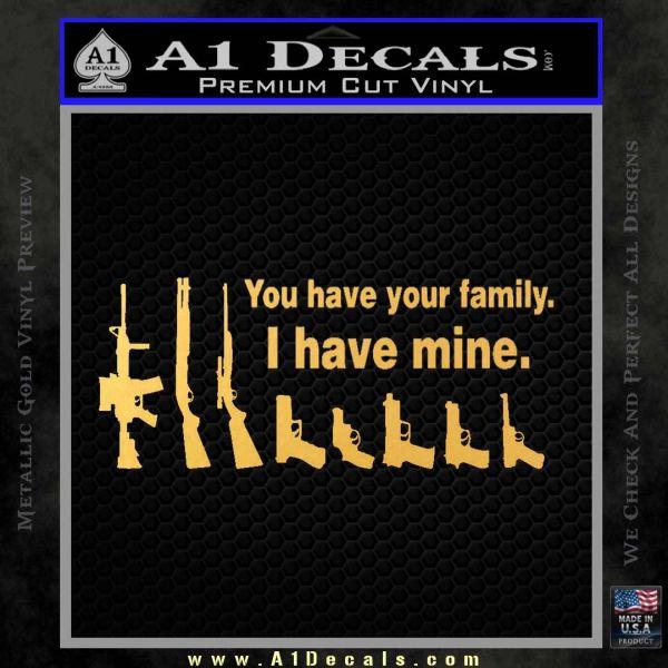 Gun Family Decal Sticker D2 Gold Vinyl1