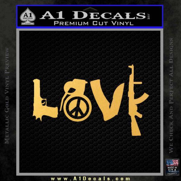 Gun Love Decal Sticker Gold Vinyl