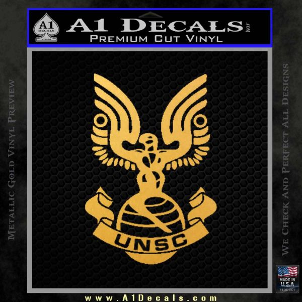 Halo Series United Nations Space Command Logo D1 Decal Sticker Gold Vinyl