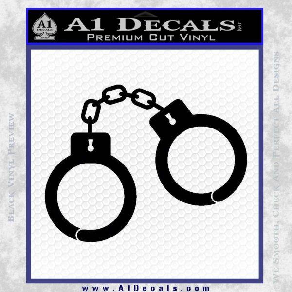Hand Cuffs Decal Sticker Police Black Vinyl
