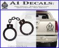 Hand Cuffs Decal Sticker Police Carbon FIber Black Vinyl 120x97