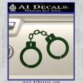 Hand Cuffs Decal Sticker Police Dark Green Vinyl 120x120