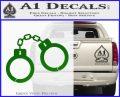 Hand Cuffs Decal Sticker Police Green Vinyl Logo 120x97