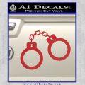 Hand Cuffs Decal Sticker Police Red 120x120