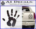 Handprint Decal Sticker Carbon FIber Black Vinyl 120x97