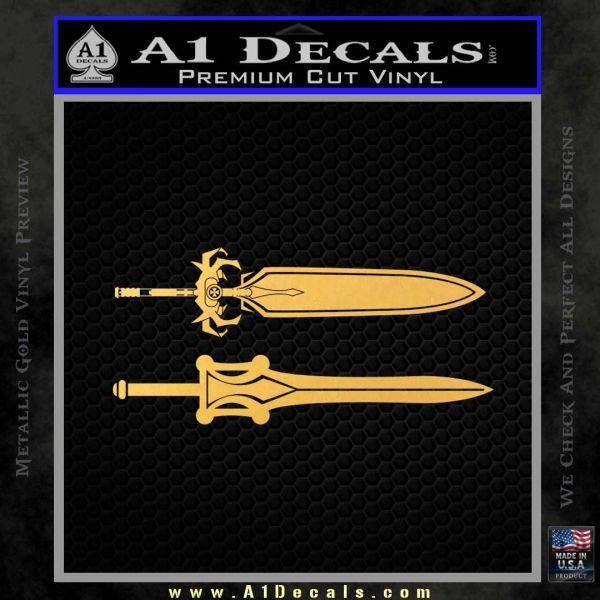 He Man Power Sword Decal Sticker 2pk Gold Vinyl