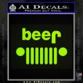 Jeep Beer Decal Sticker Lime Green Vinyl 120x120