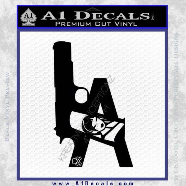 LA Los Angeles Gun Decal Sticker Black Vinyl