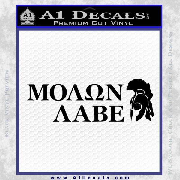 Molon Labe Stacked Spartan Decal Sticker Black Vinyl