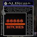 Money Over Bitches D1 Decal Sticker Orange Emblem 120x120