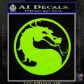 Mortal Kombat Decal Sticker DS Lime Green Vinyl 120x120