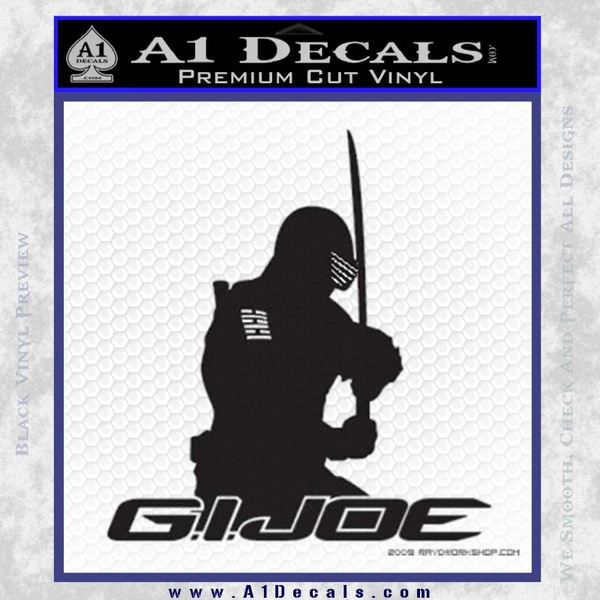 Snake Eyes GI Joe Sword Decal Sticker Black Vinyl