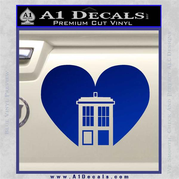 TARDIS Heart Decal Sticker DI Blue Vinyl