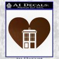 TARDIS Heart Decal Sticker DI Brown Vinyl 120x120