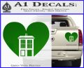 TARDIS Heart Decal Sticker DI Green Vinyl 120x97