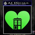 TARDIS Heart Decal Sticker DI Lime Green Vinyl 120x120
