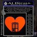 TARDIS Heart Decal Sticker DI Orange Vinyl Emblem 120x120