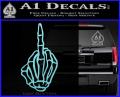 The Finger Decal Sticker Skeleton Hand Light Blue Vinyl 120x97