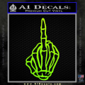 The Finger Decal Sticker Skeleton Hand Neon Green Vinyl 120x120